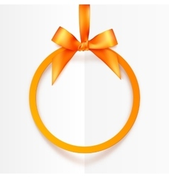 Orange round hanging frame with silky bow and vector image