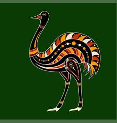 Ostrich aboriginal art style color vector