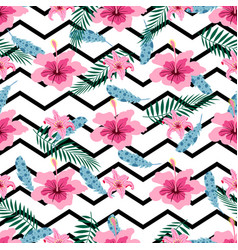 Pattern with pink flowers vector