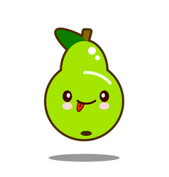 pear fruit cartoon character icon kawaii flat vector image