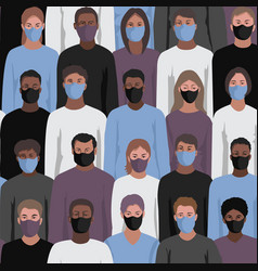 people in face masks seamless pattern vector image