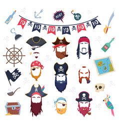 pirate mask masquerade elements costumes for vector image