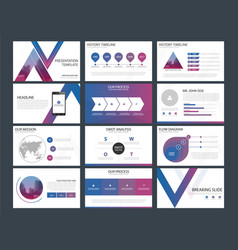 Purple blue triangle presentation templates vector