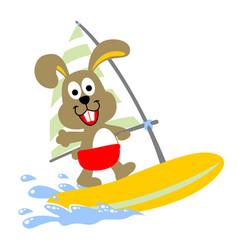 rabbit play windsurf cartoon vector image
