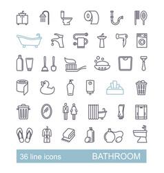 restroom bathroom toilet con set line style vector image