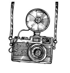 retro camera with flash vintage sketch vector image