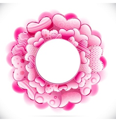 Round frame made of hearts and adorned with vector image