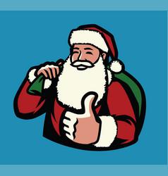 santa claus with bag gifts christmas symbol vector image