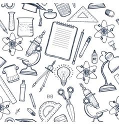 School seamless monochrome kids doodle pattern vector