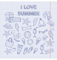 Scrap set I love summer on the notebook sheet vector image