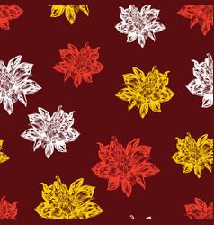 Seamless pattern chrysanthemums inflorescence vector