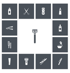 Set of 13 editable barbershop icons includes vector