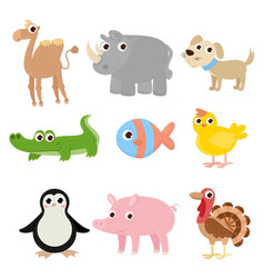 set of cartoon images of animals a collection of vector image