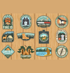 set outdoor adventure quotes symbol vector image