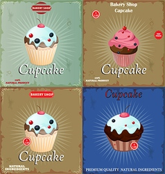 set Vintage Cupcake vector image