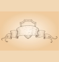 shield covered with ribbon banner hand drawn vector image
