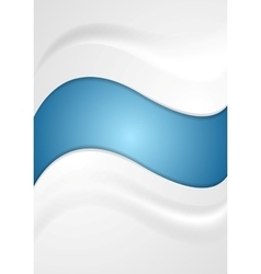 Shiny blue and pearl grey wavy background vector image vector image