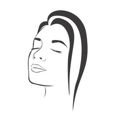 side view sketch female face silhouette vector image