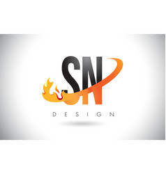 sn s n letter logo with fire flames design and vector image