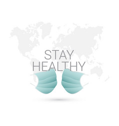 Stay healthy medical mask template design vector