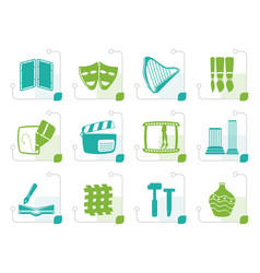 stylized different kind of arts icons vector image