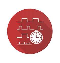 timing diagram flat design long shadow glyph icon vector image