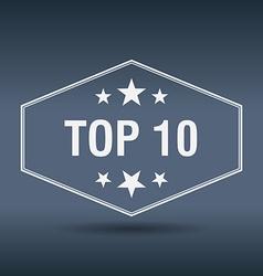 Top 10 hexagonal white vintage retro style label vector