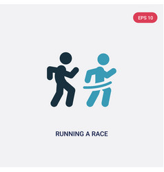 Two color running a race icon from sports concept vector
