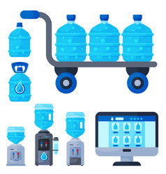 water delivery service different water bottle vector image