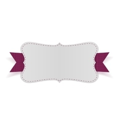 White empty card on purple ribbon vector