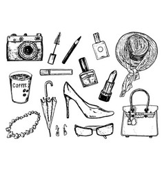 women s accessories cosmetics vintage style hand vector image