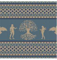 World tree first people and flying raven vector