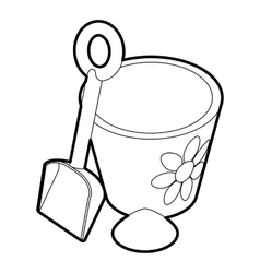 Children bucket with shovel icon outline style vector image vector image