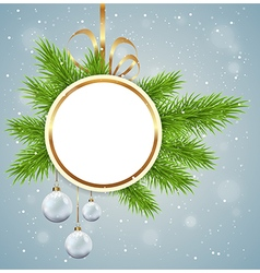 Christmas background with round banner vector image