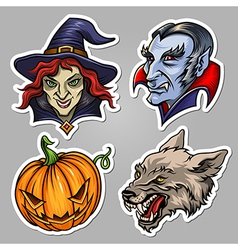 halloween stickers set vector image