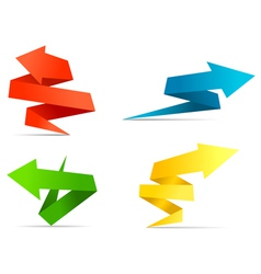 Arrow web banners and labels in origami style vector image vector image