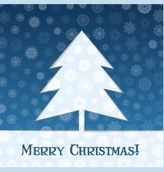 christmas tree blue banner vector image
