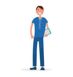 man doctor in blue uniform with prescription list vector image vector image