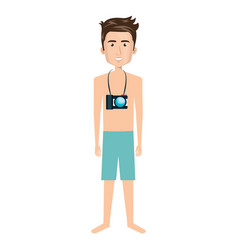 young man in beach suit vector image
