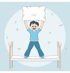 Boy starts pillow fight Child with cushion on bed vector image