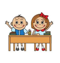 Cartoon children sitting at school desk vector image