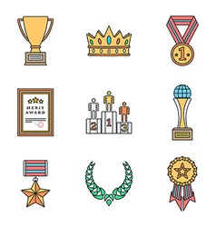 colored outline various awards symbols icons vector image vector image