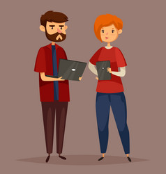 Male system administrator and online support woman vector