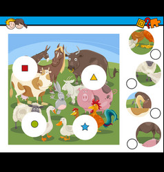 match pieces game with cartoon farm animals vector image
