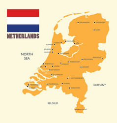Netherlands map with flag and english label vector