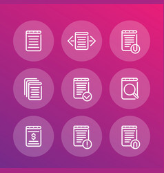 reports records documents line icons set vector image vector image