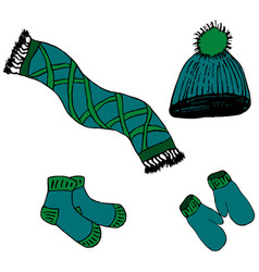 scarf hat mittens socks vector image