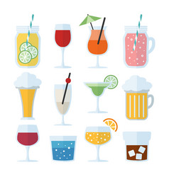 set of alcoholic drinks wine beer and cocktails vector image vector image