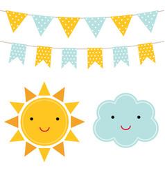 sun and cloud cartoons vector image