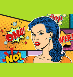 beautiful brunette woman pop art background vector image vector image